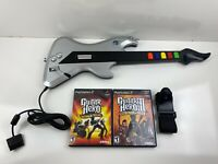 Playstation 2 PS2 React Wired Guitar Controller with Guitar Hero Games Lot