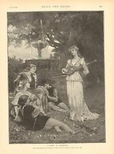 Mandolin, Music, A Song At Eventide by J. Wagrez, Vintage 1892 Antique Art Print