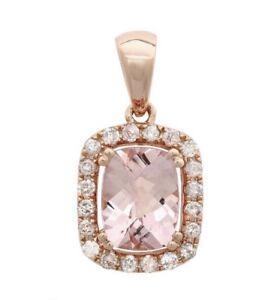 Certified 5.50cttw Morganite 1.00cttw Diamond 14KT Rose Gold Gold Pendant