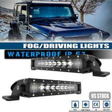 2x 10in Single Row 50W Slim Led Backup offroad Fog Light Bar Combo For Golf Cart