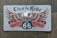 "16.5"" LIVE TO RIDE ROUTE 66 3-D cutout retro USA STEEL plate display ad Sign"