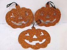 "Halloween Pumpkin  5"" Glitter Tree Ornaments Decor Decorations Set of 3"