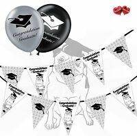 Bundle of Pug and Hat Bunting Banner 15 flags and 6 Graduation latex balloons