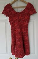 TOPSHOP RED BLACK JERSEY FIT AND FLARE MINI DRESS SIZE 8/10 EXCELLENT CONDITION
