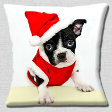"Cute French Bulldog Puppy Christmas Santa Hat & Coat 16"" Pillow Cushion Cover"