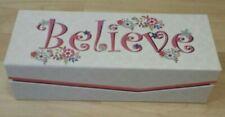 "Believe Keepsake Box Karla Pruitt Design pink white 11.25""x3""x4.5"""
