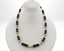 "Solid 14k Yellow Gold Black Onyx Choker Necklace 15.5"" Chain"