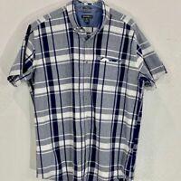 Eddie Bauer Cotton Short Sleeve Button Down Casual Shirt SZ TXL Blue/White