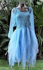 PLUS SIZE Fairy Dress Costume with Sleeves & Wings - Light Blue Snow Queen Elsa