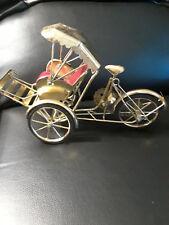 Metal Rickshaw Bicycle Drawn carriage w/Awning Velvet Seat Working Parts