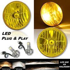 "7"" H6024/6014 Yellow Crystal Glass Headlight w/ H4 6K LED Fog Light Bulb Pair"