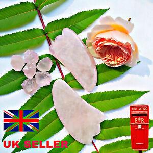 Rose Quartz Facial Gua Sha Genuine Face Guasha Massager Anti-Aging 2 PK UK STOCK