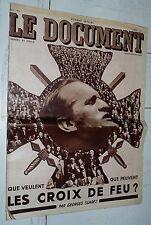 N° SPECIAL LE DOCUMENT G. SUAREZ JUIN 1935 LES CROIX DE FEU COLONEL DE LA ROCQUE