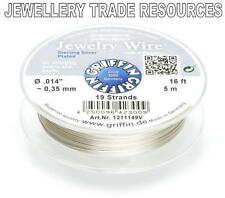 """GRIFFIN SILVER PLATED STEEL BEADING JEWELRY WIRE .014"""" / 0.35mm 16 FT 19 STRAND"""