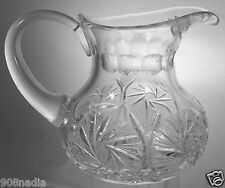 VINTAGE CUT GLASS OR CRYSTAL WATER/WINE PITCHER PINWHEEL PATTERN