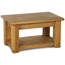 SOLID WOOD CHUNKY COFFEE CONSOLE TABLE WITH SHELF RUSTIC PLANK PINE FURNITURE