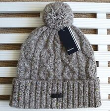 FRED PERRY Natural WOOL Cable Knit Chunky BOBBLE Hat POMPOM Toque beanie UNISEX