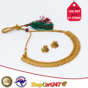 Indian Traditional Jewellery Matt Gold Party Wear Necklace Temple Jewelry Set