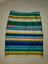 Talbot Blue Green Yellow Stripe Size 2P Pencil Skirt Lined Knee Length 2012