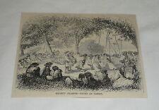 1879 magazine engraving ~ SOCIETY ISLANDS ~ FETES AT TAHITI