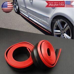 2 x 8FT Black Red Trim EZ Fit Bottom Line Side Skirt Extension For VW Porsche