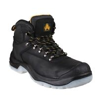 Amblers FS199 Mens Ladies Slip-Resistant Black Safety Work Boot with Scuff-Cap