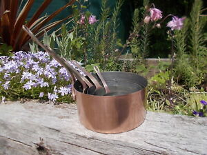 Lovely Set French Vintage Copper Brass Lined Pans  Ref MP/140
