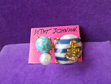 Betsey Johnson NWT Gold-Tone Ship Shape Crystal Anchor Striped Ring