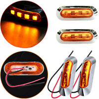 2x 12v Amber/Red 4-LED Side Marker Tail Light Lamp Clearance Trailer Truck CA