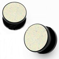 "PAIR-Glitter White Acrylic Screw On Ear Plugs 12mm/1/2"" Gauge Body Jewelry"