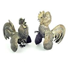 Vintage Continental Sterling Silver Fighting Roosters Cocks Pair -Ruby Eyes 448g
