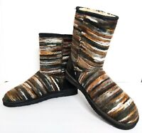 Lamo Juarez Black Yarn Fleece Lined Multi-colored Winter Boots Women's Size 8.5