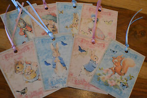 8 Handmade Gift Tags ~ Beatrix Potter ~ Peter Rabbit ~ Jemima ~ Tiggywinkle