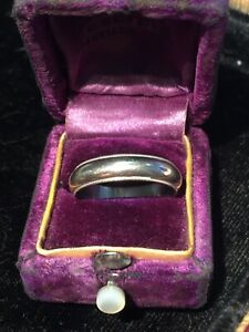 Vintage 14k White Gold Mens Keepsake Milgrain Wedding Band Size 8