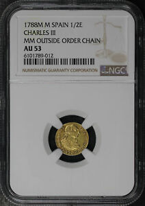 1788M M Spain Gold 1/2 Escudos Charles III NGC AU-53 MM Outside Order Chain