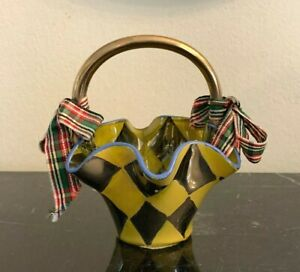 Mackenzie Childs Yellow &  Silver Scalloped Glass Basket with Red and Green Bows