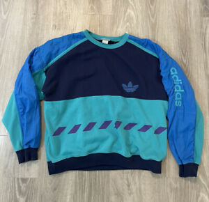 Vintage Adidas Sweatshirt Pullover Size XL Retro Blue Stripes Spell Out 80s 90s
