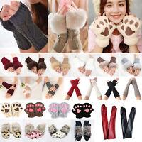Womens Fingerless Crochet Knitted Gloves Mittens Ladies Wrist Hand Arm Warmer