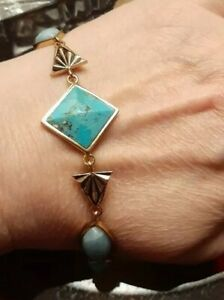 "Studio Barse Bronze Turquoise Amazonite Toggle 8"" Sphinx Bracelet Signed"