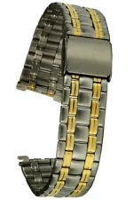 Acciaio Inossidabile Cinturino Bicolore 18 mm 5-Reihig chiusura a clip nastro di ricambio