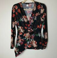 Venus Women's Top Size Medium Faux Wrap Floral V-Neck Long Sleeves Casual Work