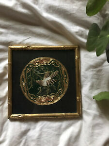 Asian textile art framed embroidery bird gold & green