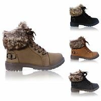 LADIES WOMENS FAUX FUR GRIP SOLE WINTER WARM ANKLE BOOTS TRAINERS SHOES SIZE 3-8