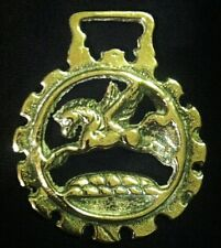 Delicate PEGASUS IN DOG TOOTHED FRAME Harness Brass England WOW YOUR WALLS!