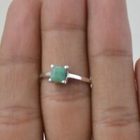 Valentine Gift Emerald Handmade Jewelry Sterling Silver Solitaire Ring Size 6