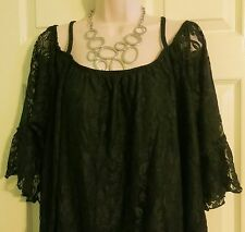 NEW Stunning Lined Black Lace Peasant Boho Top by Lane Bryant Plus 22/24 (2X/3X)