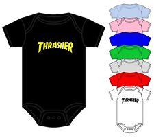 THRASHER BABY GROW BABY VEST SKATER BMX SKATE BOARD ASST COLOURS 0-18 MONTHS NEW