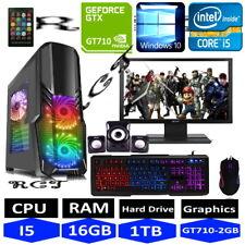 Fast Gaming PC Computer Set Monitor Quad Core i5 16GB 1TB Sieg 10 2GB