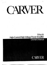 Carver TFM-15 Amplifier Owners Manual