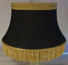 Black Softback Floor Lamp Shade w/ Fringe, Shallow Drum, High Quality Fabric 840